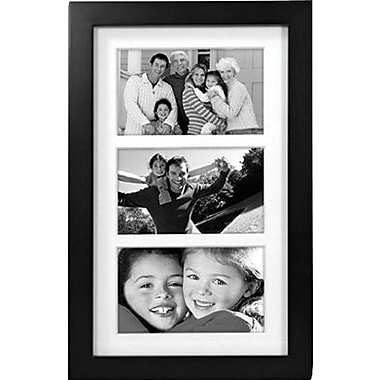 Malden Classic Linear 3-Opening Wood Collage Picture Frame, Black, 5