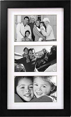 Malden Classic Linear 3-Opening Wood Collage Picture Frame, Black, 4