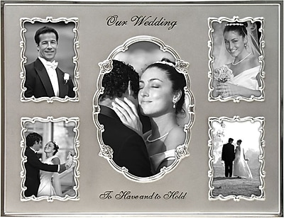 Malden 5-Opening Our Wedding Metal Collage Picture Frame, Silver, 4