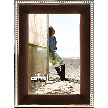 Malden Classic Two Tone Beaded Metal Picture Frame, Bronze/Silver, 4