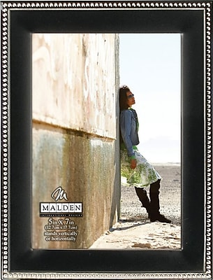 Malden Classic Two Tone Beaded Metal Picture Frame, Black, 5