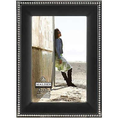 Malden Classic Two Tone Beaded Metal Picture Frame, Black, 4