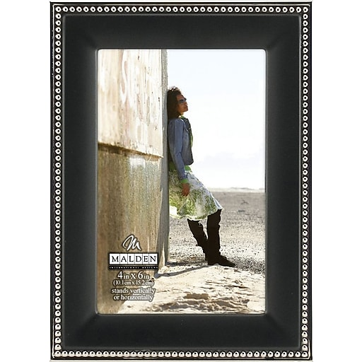 Malden Classic Two Tone Beaded Metal Picture Frame, Black, 4\