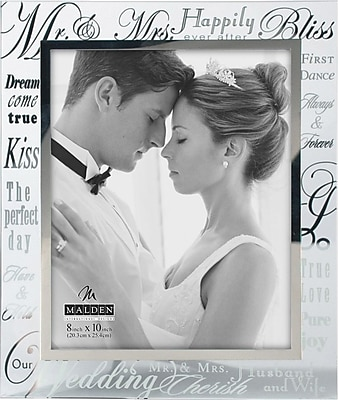Malden Mr. and Mrs. Wedding Metallic Glass Picture Frame, 8
