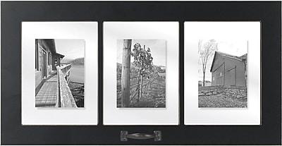 Malden 3-Opening Window Floater Wood Picture Frame, Black, 6