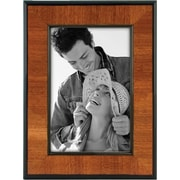 "Malden Burlwood Picture Frame With Black, 4"" x 6"" Border, Walnut, 4"" x 6"""