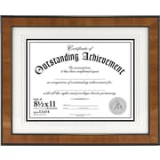 "Malden Burlwood Document Frame With Black Border, Brown, 8 1/2"" x 11"""