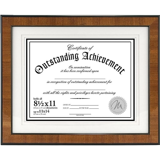 Malden Burlwood Document Frame With Black Border Brown 8 12 X 11