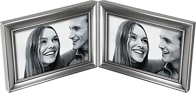 Malden Concourse Split Double Metal Picture Frame, Pewter, 4