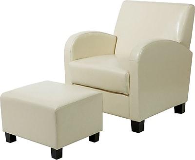 OSP Designs® Faux Leather Club Chair w/ Ottoman, Cream