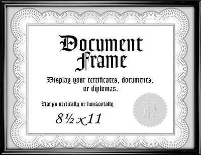 Malden Home Profiles Metro Plastic Document Frame, Black, 8.5