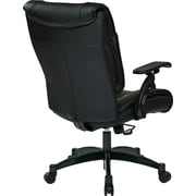 Office Star SPACE Leather Conference Office Chair, Adjustable Arms, Black (9333E)
