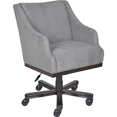 La-Z-Boy Brooklyn Fabric Managers Office Chair, Fixed Arms, Gray/Silver (45221)