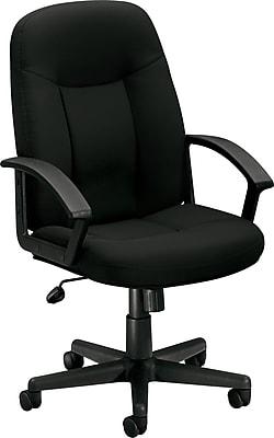HON High-Back Executive Chair, Center-Tilt, Fixed Arms, Black Fabric NEXT2018 NEXT2Day