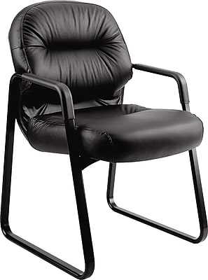 HON Pillow-Soft Guest Chair, Fixed Arms, Black Leather NEXT2018 NEXT2Day 2608826