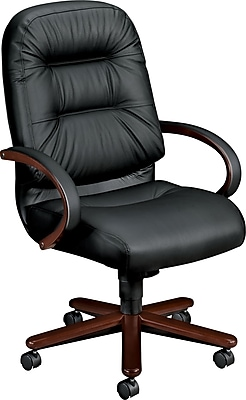 HON 2190 Pillow-Soft Wood Series Executive Highback Chair, Mahogany/Black Leather, Open Loop Arms (2191NSR11) 2608901