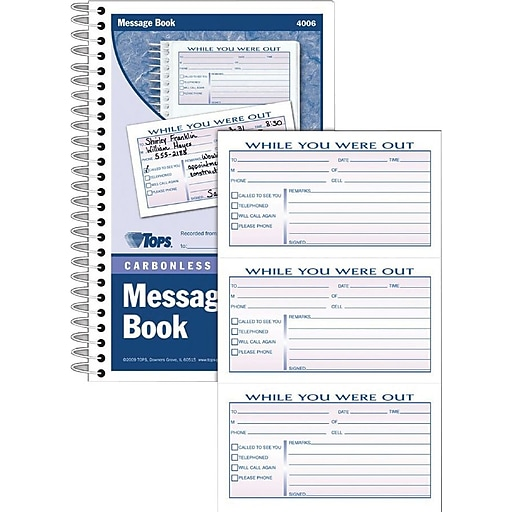 TOPS® While You Were Out Phone Message Book, Ruled, 2-Part, White/Canary, 8  1/2