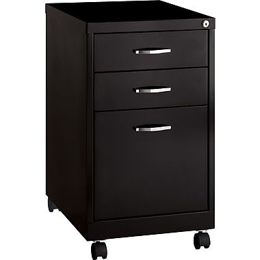 Hirsh Industries 3 Drawer Vertical File Cabinet, Mobile, Black, Letter, 19u0027