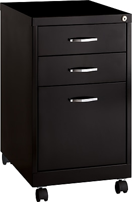 Hirsh Industries 3 Drawer Vertical File Cabinet, Mobile, Black, Letter, 19''D (19630)