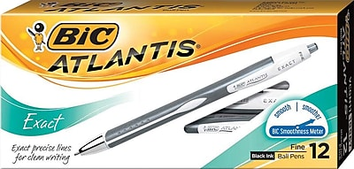 BIC Atlantis Exact Retractable Ballpoint Pens, Fine Point, Black Ink, Dozen (VCGN11BK)