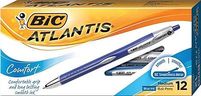 BIC® Atlantis® Comfort Retractable Ballpoint Pens, Medium Point, 1.0 mm, Blue, Dozen