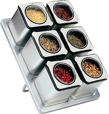 Stainless Steel Magnetic Spice Rack with 6 Tin Jars