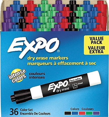 EXPO Dry Erase Markers, Chisel Tip, Assorted Colors, 36/Pack (1921061)