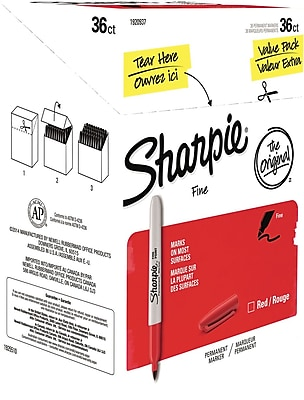 Sharpie Permanent Markers, Fine Point, Red, 36/Pack (1920937)