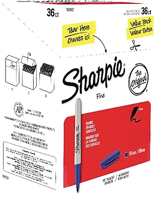 Sharpie Fine Point Permanent Markers, Blue, 36/pk (1920932)