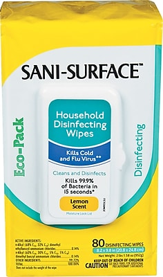 Sani-Cloth Disinfecting Surface Wipes, 10 x 9, Lemon Scent, 100/Pk