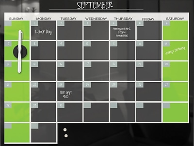 Balt® Magnetic Glass Dry-Erase Monthly Calendar, Black, 2'W x 1.5'H