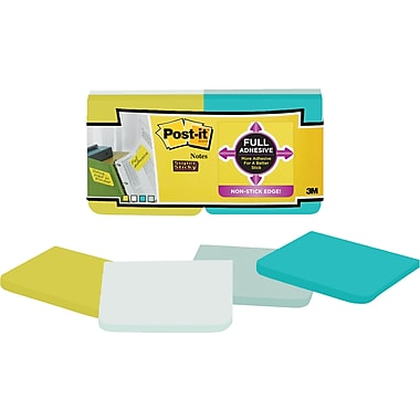 Post-it® - Feuillets adhésifs Super Sticky de bord à bord, Collection Bora Bora, 3 po x 3 po, bloc/25 feuilles, paq./12