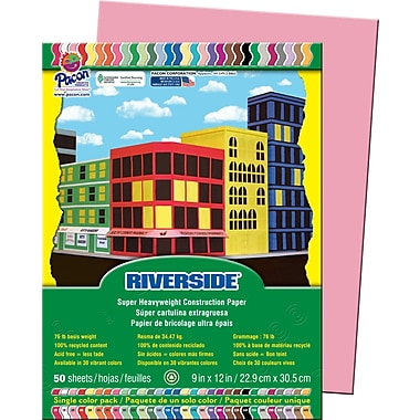 Pacon® Riverside® Groundwood Construction Paper, Pink, 12