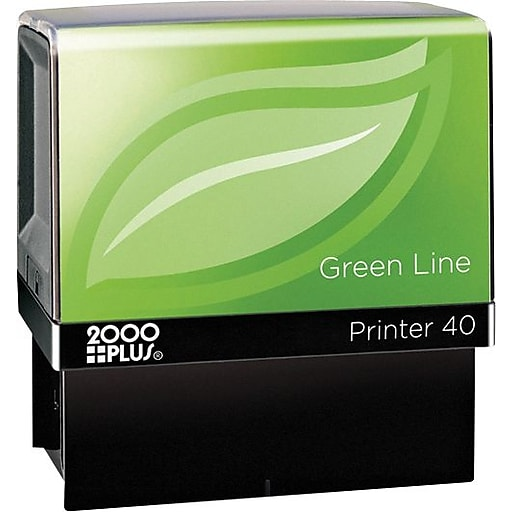 Cosco Custom Green Line Series Self Inking Stamp 13 16 X 2 3
