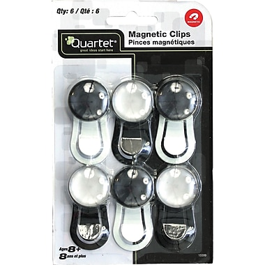 Quartet Magnetic Clips, 6/Pack