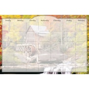 Biggies- Dry Erase Stickie Monthly Calendar, Water Wheel, 36""