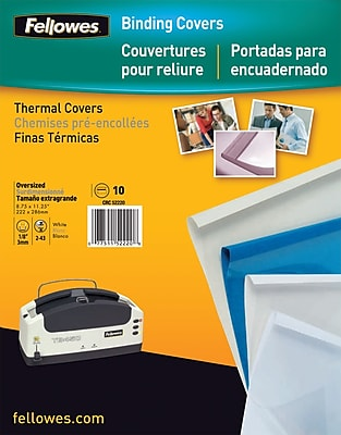 Fellowes Thermal Binding Presentation Covers, 10 Pack, White