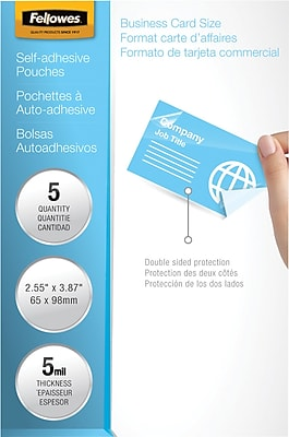 Fellowes Laminating Pouches Business Card Size Self