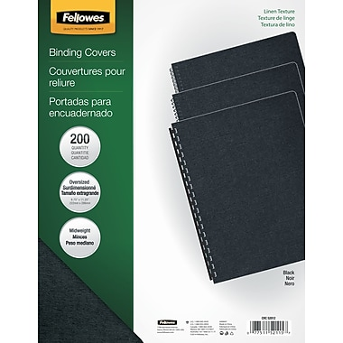Fellowes Expressions Binding Presentation Covers, Oversize, 200 Pack, Black