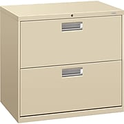 """HON® Brigade® 600 Series Lateral, 2-Drawer, Putty, 19.25""""D"""