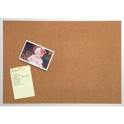 Staples® Cork Bulletin Board, Aluminum Frame, 4' x 3'