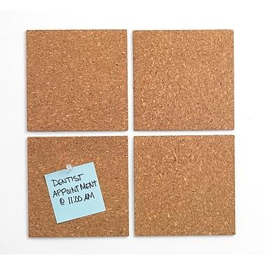 Staples® Natural Cork Tiles, Frameless, Modular, 4 Pack, 6