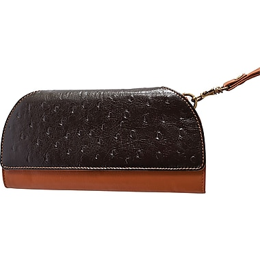 Rogue Ostrich Print Womens Clutch with RFID protection, Black/Tan
