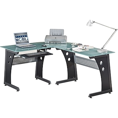 Techni Mobili L Shaped Tempered Glass Top Computer Desk, Graphite