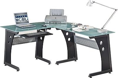 Techni Mobili L-Shaped Tempered Glass Top Computer Desk, Graphite