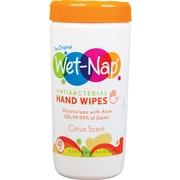 Wet-Nap® Antibacterial Hand Sanitizing Wipes, Citrus Scent, 40 Count Canisters