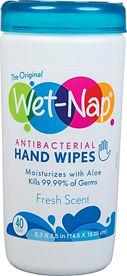 Wet-Nap® Antibacterial Hand Sanitizing Wipes, Fresh Scent, 40 Count Canisters