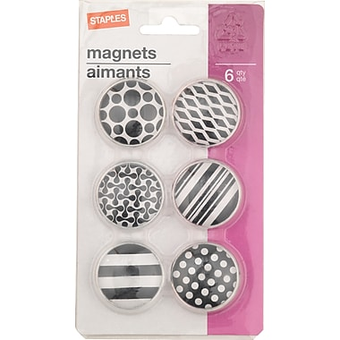 Staples® Magnets, Dome Shaped with Pattern, 6/Pack