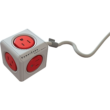 PowerCube Extended 5-Outlet Power Bar with Power Cord , 5', Boston Red