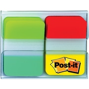 """Post-it® Tabs, 1"""" Solid, Aqua, Lime, Yellow, Red, 11/Color, 44/Dispenser"""